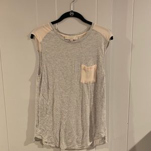 Grey and pink sleeveless blouse
